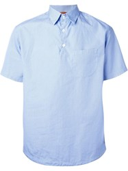 Barena Pinstripe Short Sleeve Button Down Collar Shirt Blue