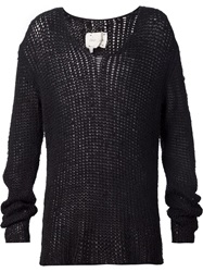Greg Lauren Open Knit Sweater Black