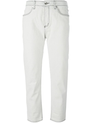 Love Moschino Cropped Boyfriend Jeans Nude And Neutrals