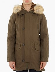 Yves Salomon Khaki Rabbit Fur Lined Parka