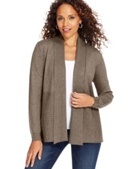 Karen Scott Luxsoft Long Sleeve Cable Knit Cardigan Chestnut Heather