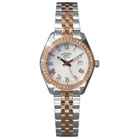 Rotary Lb90111 01 Women's Lucerne Rose Gold Plated Two Tone Stainless Steel Bracelet Strap Watch Silver Rose Gold