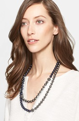 St. John Two Tone Faux Pearl Double Strand Necklace Ruthinium Dark Pearl