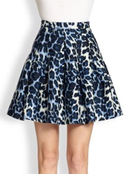 Diane Von Furstenberg Gemma Animal Print Circle Skirt Blue Snow Cheetah