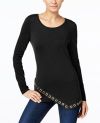 Inc International Concepts Asymmetrical Grommet Trim Tunic Only At Macy's Deep Black