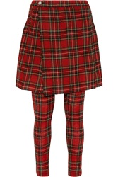 R 13 X Over Leather Trimmed Plaid Wool Gauze Pants Red