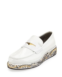 Studded Wedge Leather Loafer White Gold Versace