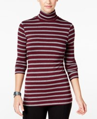 G.H. Bass And Co. Striped Turtleneck Top Heather Mulled Wine