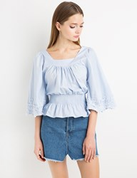 Pixie Market Blue Lace Bell Sleeve Top By New Revival