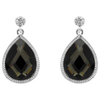 Monet Jet Crystal Teardrop Earrings Silver Black