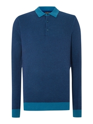 Peter Werth Nouveau Long Sleeved Knitted Polo Shirt Ocean