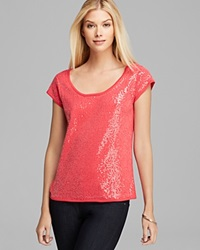 Joan Vass Sequined Tee Pink