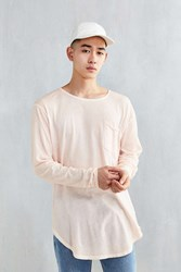 Feathers Oil Wash Curved Hem Long Sleeve Tee Pink
