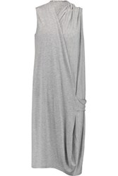 Acne Studios Natifa Wrap Effect Stretch Jersey Dress Gray