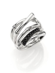 John Hardy Bamboo Black Sapphire And Sterling Silver Multi Row Ring Silver Black