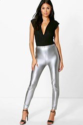 Boohoo Matte Metallic Highwaist Leggings Silver