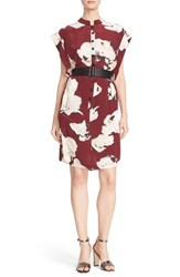 Tracy Reese Women's Belted Floral Print Silk Dress Cerise Smudgey Floral