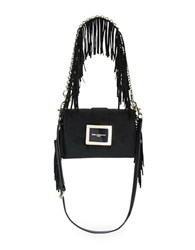 Karl Lagerfeld Jos Suede Shoulder Bag Black Gold