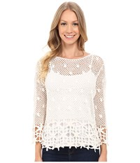 Kut From The Kloth Lola 3 4 Sleeve Crochet Sweater Ivory Women's Sweater White