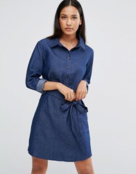Ax Paris Denim Shirt Dress With Tie Waist Blue