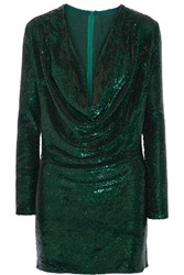 Ashish Sequined Silk Georgette Mini Dress Emerald