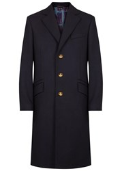Vivienne Westwood Navy Melton Wool Blend Coat