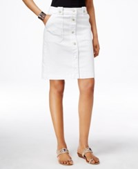Inc International Concepts Button Down Denim A Line Skirt Only At Macy's White Denim