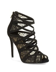 Enzo Angiolini Niccho Suede And Lace Stiletto Heels Black