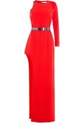 Halston Heritage Asymmetric Floor Length Gown With Metallic Belt Red