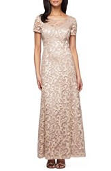 Alex Evenings Petite Women's Embroidered Woven Gown Gold Champagne