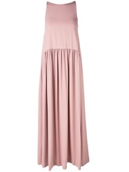 Erika Cavallini Gathered Skirt Maxi Dress Pink And Purple