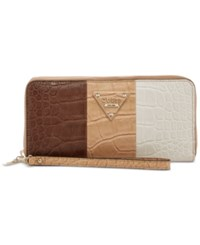 Guess Rhoda Large Zip Wallet Nut Multi