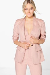Boohoo Sofia Tailored Button Woven Blazer Rose