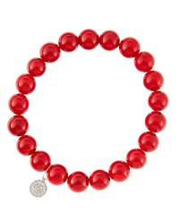 Sydney Evan 8Mm Red Coral Beaded Bracelet With 14K White Gold Diamond Small Disc Charm Made To Order
