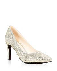 Cole Haan Eliza Metallic Glitter Pointed Toe Pumps Silver Gold