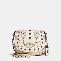 Coach Western Rivets Saddle Bag 17 In Glovetanned Leather Bp Chalk