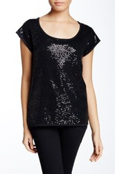Joan Vass Sequined Tee Black