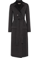 Bottega Veneta Houndstooth Wool And Cashmere Blend Coat Dark Gray