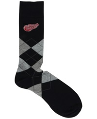 For Bare Feet Detroit Red Wings Argyle Dress Socks Black Red