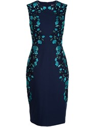Lela Rose Embroidered Pencil Dress Blue