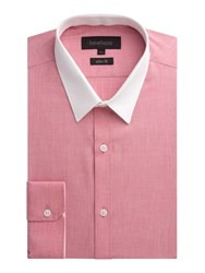 Limehaus Plain Slim Fit End On End Formal Shirt Red