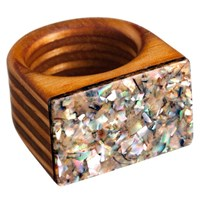 Sticks And Stones Maple Wood Ring Crushed Abalone