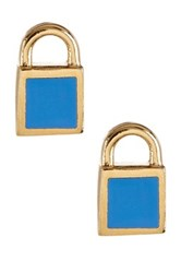 Marc By Marc Jacobs Mini Enamel Padlock Stud Earrings Blue