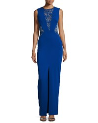 Nicole Miller Lace Inset Column Gown Royal Navy
