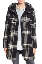 Steve Madden Check Plaid Toggle Duffle Coat Black