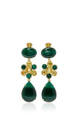 Bounkit Malachite And Lemon Quartz Four Way Earrings Green