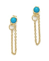 Zoe Chicco 14K Yellow Gold Draped Chain And Turquoise Stud Earrings