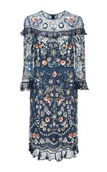 Needle And Thread Bleach Indigo Butterfly Garden Dress Blue