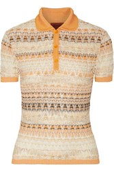 Missoni Stretch Crochet Knit Cotton Blend Top Orange