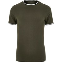 River Island Mens Khaki Green Tipped Muscle Fit T Shirt